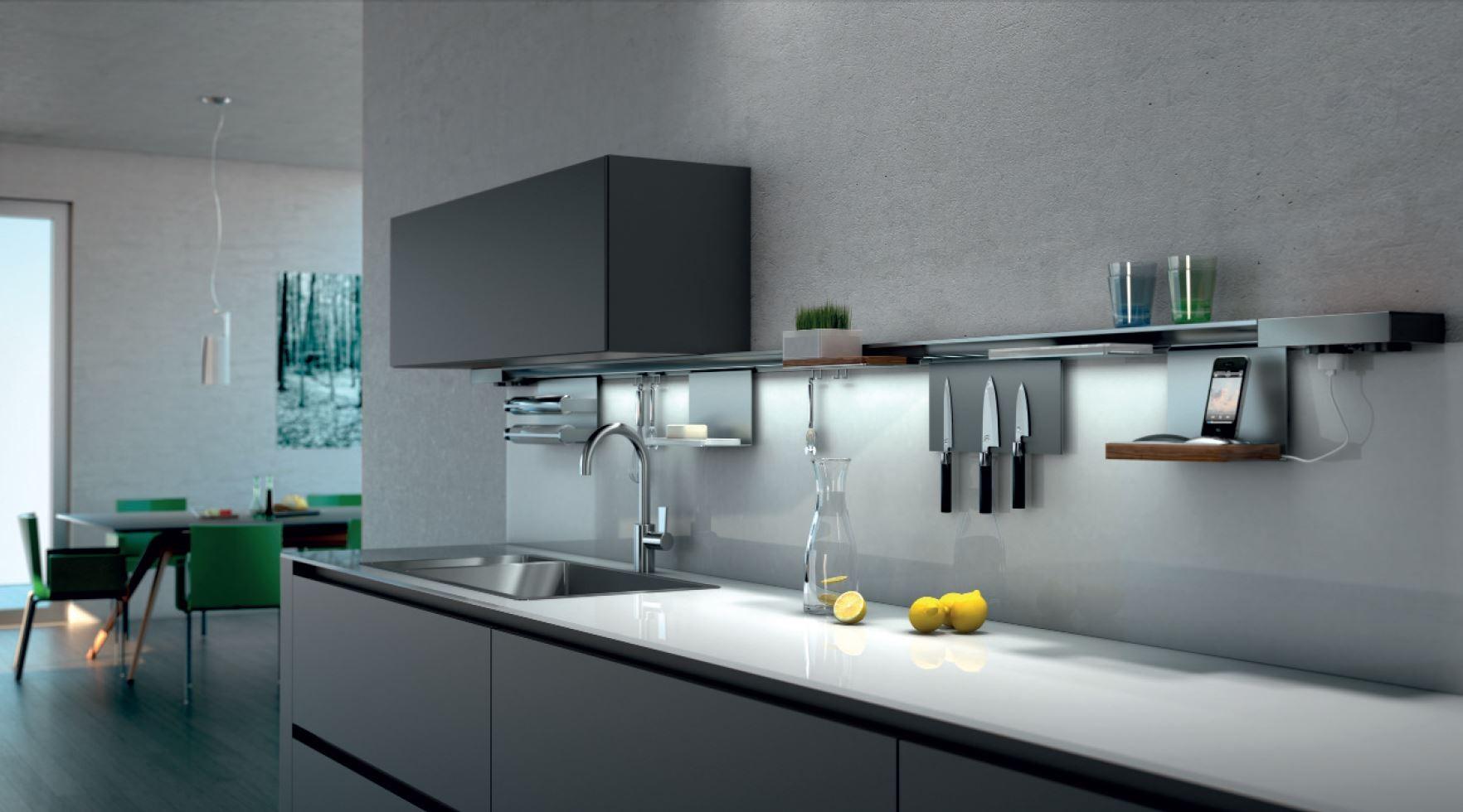 Miro tragerprofil schiene fur die wand 130 cm for Relingsystem küche