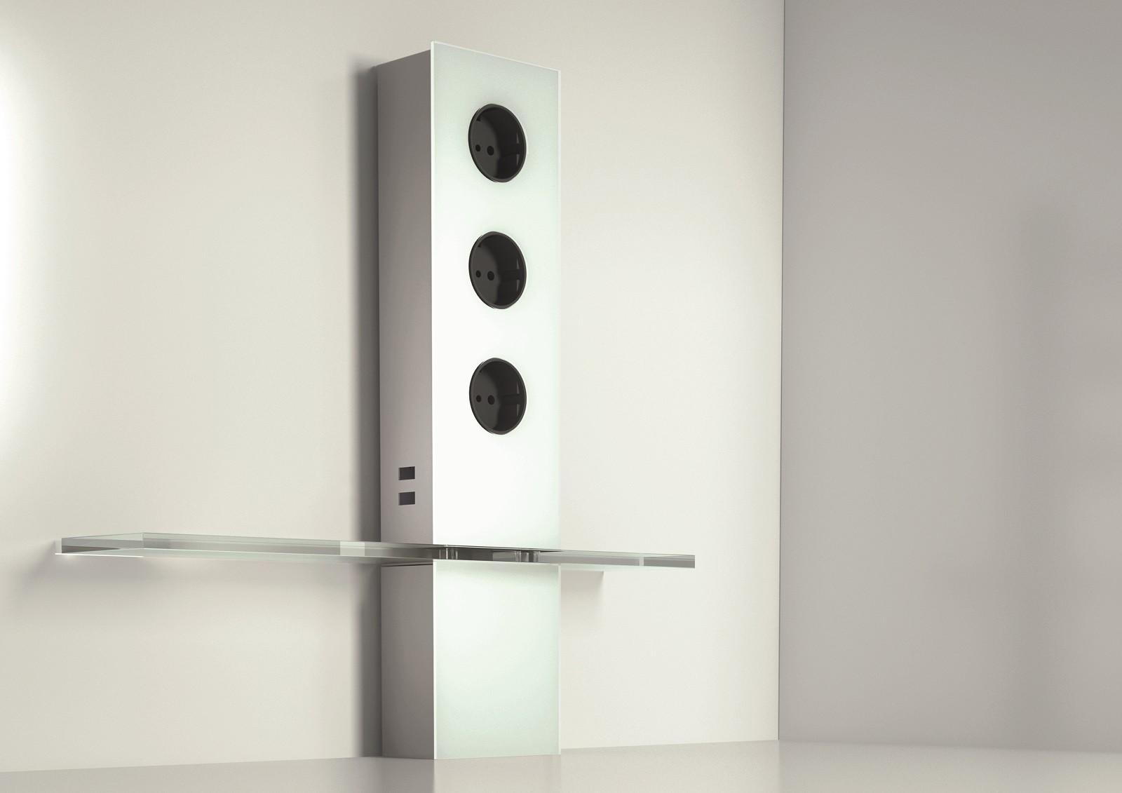 steckdoseneinheit powerturm aus edelstahl und glas mit. Black Bedroom Furniture Sets. Home Design Ideas